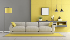 Gray and yellow modern lounge Royalty Free Stock Photos