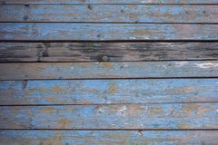 Gray yellow old fence wall of wooden planks with blue peeling paint and cracks and one dark board. horizontal lines. rough surface. A gray yellow old fence wall royalty free stock images
