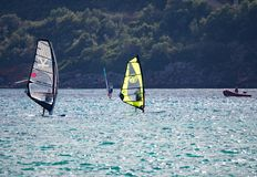 Gray and Yellow Sails Stock Photography