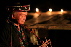 Graybeard Akha ethic at chinge rai. The north of thailand play local music stock images