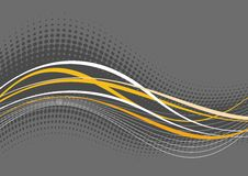 Grayish wavy background. An artistic illustration of grayish, white and yellow lines and patterns in a wavy design giving the feeling of motion and undulation royalty free illustration