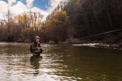 Grayling fishing on mountain river Royalty Free Stock Photos