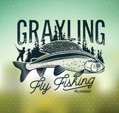 Grayling Fly Fishing Logo. The Lady of the River. Arctic Grayling. Lady of the stream stock illustration