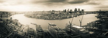 Grayscale aerial photography shot of the industrial district in London