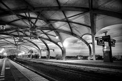 Grayscale Architectural Photography of Empty Train Station Stock Images