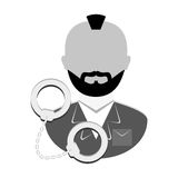 Grayscale arrested man with handcuffs icon Royalty Free Stock Photo