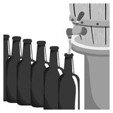 Grayscale beer bottles filling up icon. Illustration Stock Image