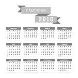 Grayscale 2015 Calendar Vector Royalty Free Stock Photos