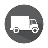 Grayscale circle with truck with wagon Royalty Free Stock Photo