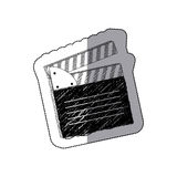Grayscale clapper board icon Royalty Free Stock Image