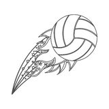 Grayscale contour with olympic flame with volleyball ball. Illustration Royalty Free Stock Photo