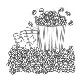 Grayscale contour with popcorn container and movie tickets Royalty Free Stock Photos