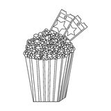 Grayscale contour of popcorn container with movie tickets inside. Illustration Royalty Free Stock Photos