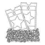 Grayscale contour with popcorn and movie tickets Royalty Free Stock Images