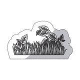 Grayscale contour sticker of field grass and plants. Illustration Stock Photography