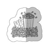 Grayscale contour sticker of popcorn container and movie tickets. Illustration Stock Images