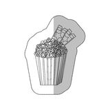 Grayscale contour sticker of popcorn container with movie tickets inside. Illustration Royalty Free Stock Photography