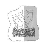 Grayscale contour sticker of popcorn and movie tickets Royalty Free Stock Photo