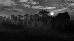 Grayscale Dark Landscape Environment vector illustration