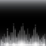 Grayscale digital equalizer background with flares Stock Images