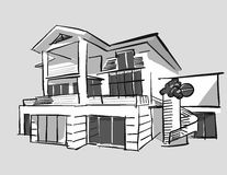 Grayscale drawing dream house Royalty Free Stock Photography
