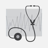 Grayscale ECG and Stethoscope. Isolated in white Stock Image