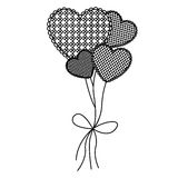 Grayscale figure hearts balloons icon. Illustraction design Stock Images