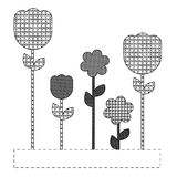 Grayscale figures flowers plants icon Royalty Free Stock Photography