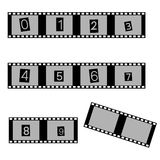 Grayscale film and movie with numbers symbols eps10 Stock Photos