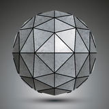 Grayscale galvanized 3d sphere created with triangles Stock Images