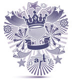 Grayscale holiday background with stylized 3d monarch crown Royalty Free Stock Photography