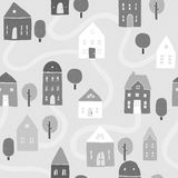 Grayscale houses pattern. Vector EPS10 hand drawn houses seamless pattern Stock Photography