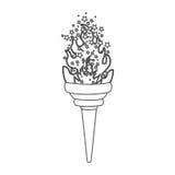 grayscale kontur z olimpijskim pochodnia płomieniem z gwiazdami Zdjęcie Stock
