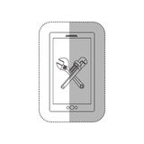 Grayscale middle shadow sticker with cellphone with crossed wrenches in display Royalty Free Stock Photos