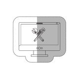 Grayscale middle shadow sticker with desktop computer with crossed wrenches in display Stock Images