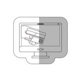 Grayscale middle shadow sticker with desktop computer and display with credit card in hand Royalty Free Stock Image