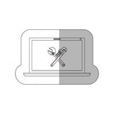 Grayscale middle shadow sticker with laptop with crossed wrenches in display Royalty Free Stock Photo