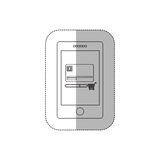 Grayscale middle shadow sticker with tablet with credit card and shopping cart Stock Image