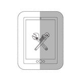 Grayscale middle shadow sticker with tablet with crossed wrenches in display Stock Photo