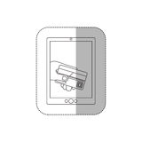 Grayscale middle shadow sticker with tablet and display with credit card in hand Royalty Free Stock Photography