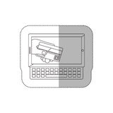 Grayscale middle shadow sticker with tablet and keyboard with display with credit card in hand Stock Photography