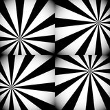 Grayscale / Monochrome Sunburst, Starburst Backgrounds with Radi Royalty Free Stock Images