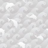 Grayscale naadloze achtergrond met de dolfijnen en de grote golven Stock Fotografie