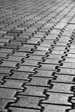 Grayscale Pavement. Black & White photo of a pavement pattern. Selective focus Royalty Free Stock Photos