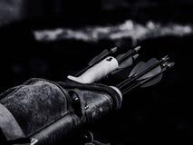 Grayscale Photo of Arrow Inside Black Case Stock Image