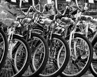Grayscale Photo of Bicycles Royalty Free Stock Images
