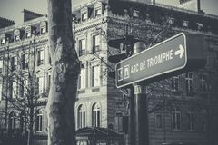 Grayscale Photo of Black and White Arc De Triomphe Street Sign Royalty Free Stock Photo