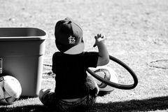 Grayscale Photo of Boy Wearing St. Louis Cap Stock Photos