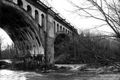 Grayscale Photo Of Bridge royalty free stock image
