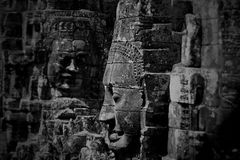 Grayscale Photo of Buddha Statues Royalty Free Stock Image